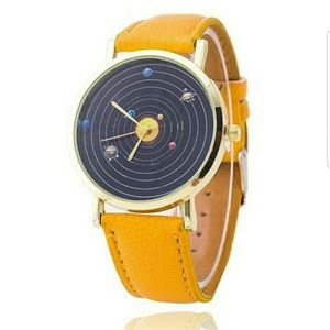 Accessories - Planets watch with yellow strap